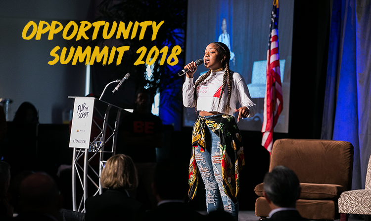 Image of young adult telling their story at 2017 Opportunity Summit.
