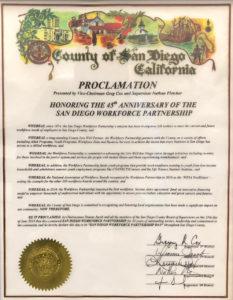 County proclamation San Diego Workforce Partnership Day