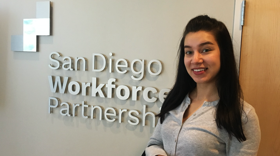 Mariia at Workforce Partnership office