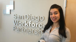 Mariia in front of Workforce Partnershi