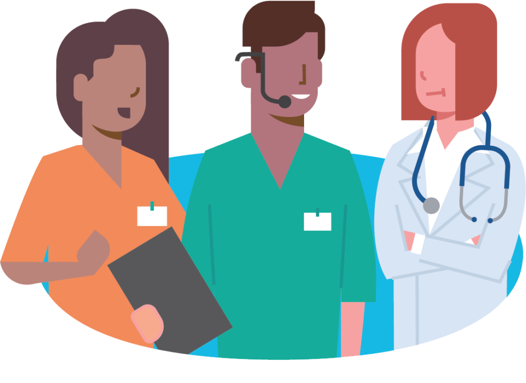 Illustration of 3 workers in health care