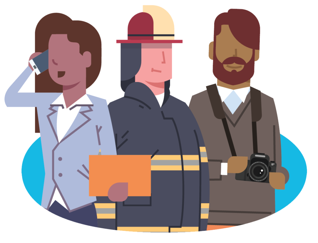 Illustration of 3 workers in public administration
