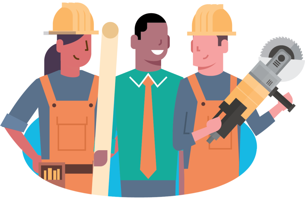 Illustration of 3 workers in energy construction & utilities