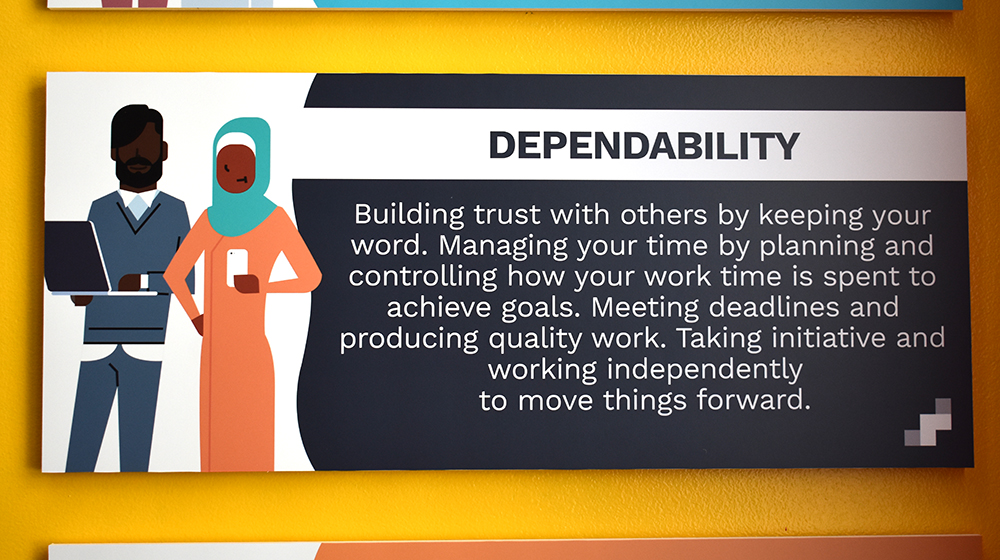 Dependability definition on wall sign