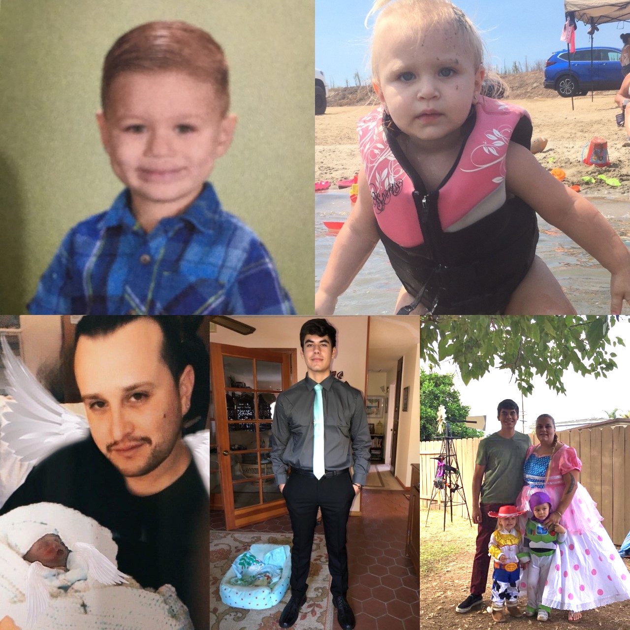 Four photo collage of Heather, her kids and husband