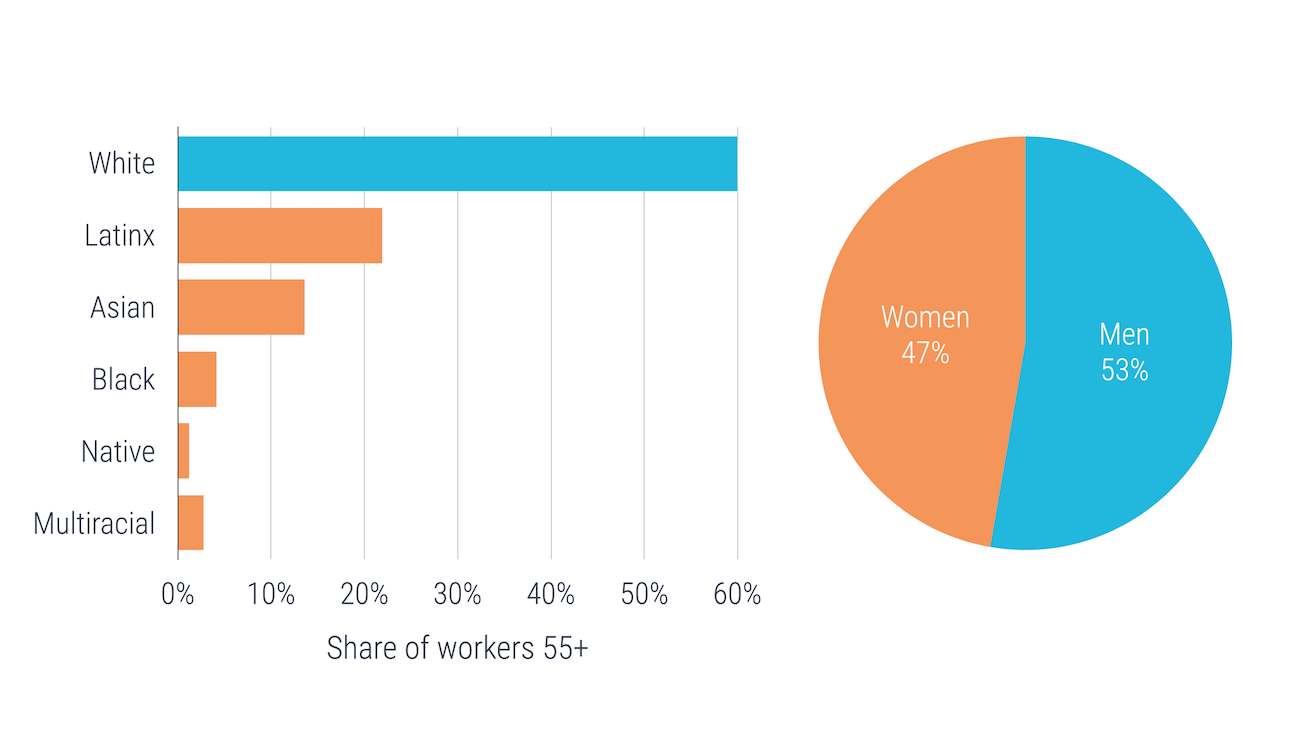 Race and gender demographics of older workers
